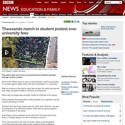 Thousands march in student protest over university fees