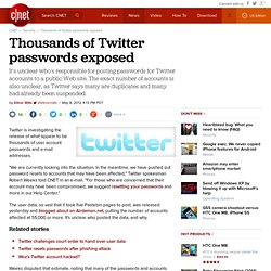Thousands of Twitter passwords exposed