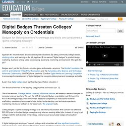 Digital Badges Threaten Colleges' Monopoly on Credentials