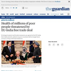 Health of millions of poor people threatened by EU-India free trade deal