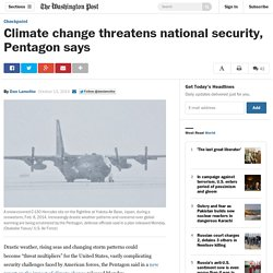 Climate change threatens national security, Pentagon says