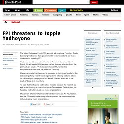 FPI threatens to topple Yudhoyono