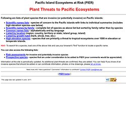 Plant Threats to Pacific Ecosystems - index to PIER lists