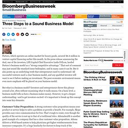 Three Steps to a Sound Business Model