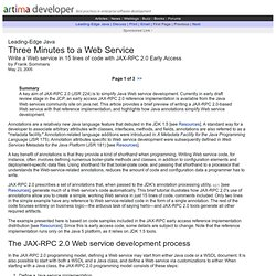 Three Minutes to a Web Service