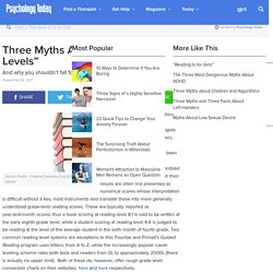 """Three Myths About """"Reading Levels"""""""