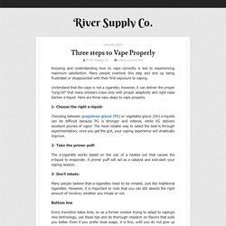 Three steps to Vape Properly