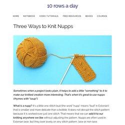 Three Ways to Knit Nupps