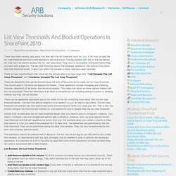 List View Thresholds And Blocked Operations In SharePoint 2010
