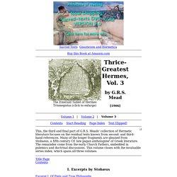 Thrice-Greatest Hermes, Vol. 3 Index