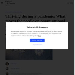 Thriving during a pandemic: What moves the needle on organizational health