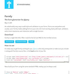 Formly - The form glamorizer for jQuery