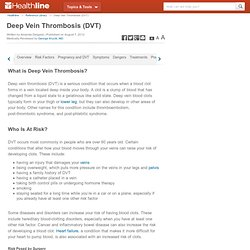 Deep Vein Thrombosis (DVT) : Learning Center on Healthline.com