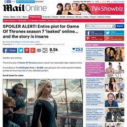 Game Of Thrones season 7 plot 'leaked' online