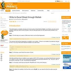 Write to Excel Sheet through Matlab