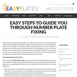 Easy Steps to Guide You Through Number Plate Fixing - Easy Number Plates