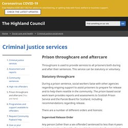 Prison throughcare and aftercare
