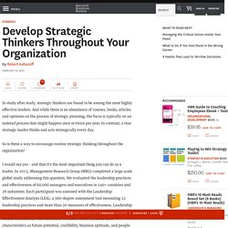 Develop Strategic Thinkers Throughout Your Organization