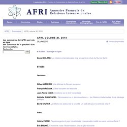 AFRI, volume XI, 2010 - Centre Thucydide - analyse et recherche en relations internationales