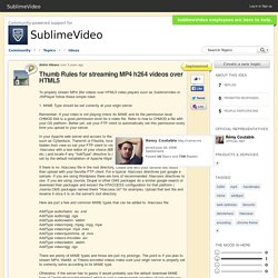 Thumb Rules for streaming MP4 h264 videos over HTML5