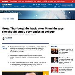 Greta Thunberg hits back at Mnuchin criticism over climate crisis