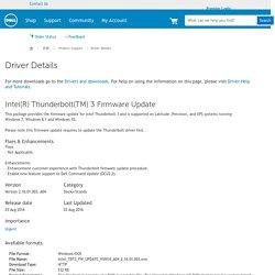Intel(R) Thunderbolt(TM) 3 Firmware Update Driver Details