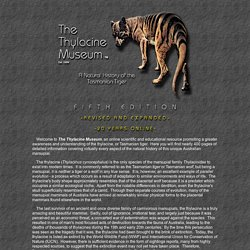 The Thylacine Museum - A Natural History of the Tasmanian Tiger