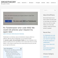 Ticketmaster error code 0002