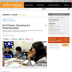 Exit Tickets: Checking for Understanding