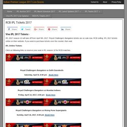 RCB IPL Tickets 2017 - Indian Premier League 2017 Live Scores
