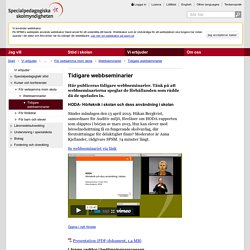 Tidigare webbseminarier