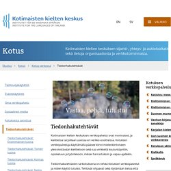 Tiedonhakutehtävät - Kotimaisten kielten keskus