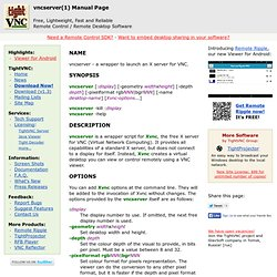 Manual Page for vncserver(1)