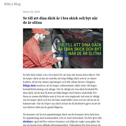 Se till att dina däck är i bra skick och byt när de är slitna — Billy's Blog