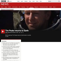 Tim Peake returns to Earth