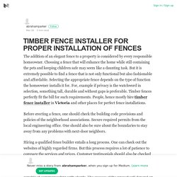 TIMBER FENCE INSTALLER FOR PROPER INSTALLATION OF FENCES