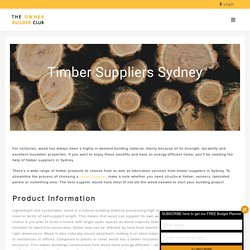 Sydney Timber Suppliers - Owner Builder Club