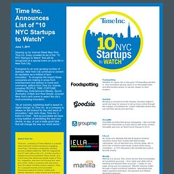 Time Inc. 10 NYC Startups to Watch