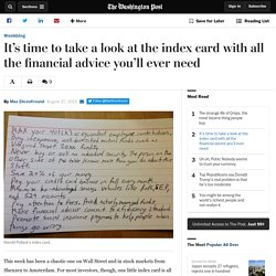 It's time to take a look at the index card with all the financial advice you'll ever need