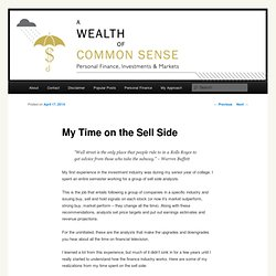 My Time on the Sell Side - A Wealth of Common Sense