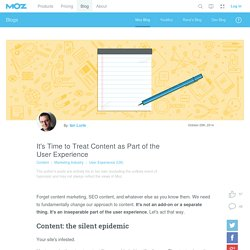 It's Time to Treat Content as Part of the User Experience