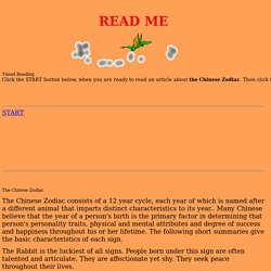 Timed Reading - Chinese Zodiac
