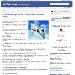 7 Crucial Things About Timeline For Facebook Pages