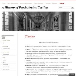 A History of Psychological Testing