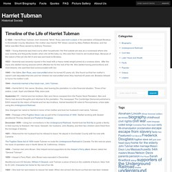 Timeline of the Life of Harriet Tubman : Harriet Tubman