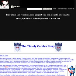 The Timely Comics Web Page, Prologue
