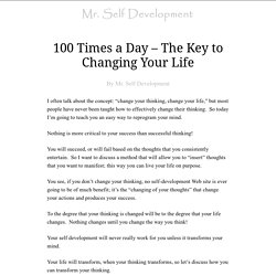 100 Times a Day – The Key to Changing Your Life
