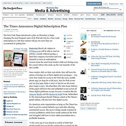 New York Times to Impose Fees for Web Readers on March 28