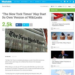 The New York Times May Start Its Own Version of WikiLeaks