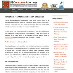 Timeshare Fees - What does the Timeshare Fees Cover?
